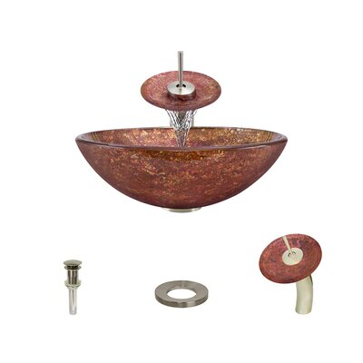 Foil Undertone Glass Circular Vessel Bathroom Sink with Faucet Faucet Finish: Brushed Nickel