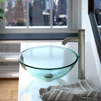 Glass Circular Vessel Bathroom Sink Sink Finish: Crystal