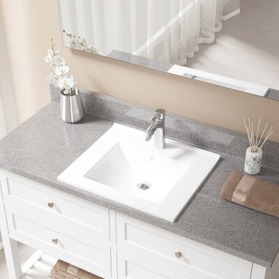 Vitreous China Rectangular Vessel Bathroom Sink with Faucet and Overflow Faucet Finish: Chrome