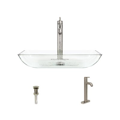 Glass Rectangular Vessel Bathroom Sink with Faucet Sink Finish: Crystal, Faucet Sink: Brushed Nickel
