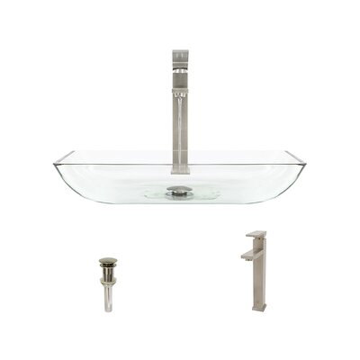 Rectangualr Glass Rectangular Vessel Bathroom Sink with Faucet Sink Finish: Crystal, Faucet Finish: Brushed Nickel