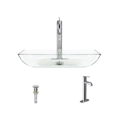 Glass Rectangular Vessel Bathroom Sink with Faucet Sink Finish: Crystal, Faucet Sink: Chrome