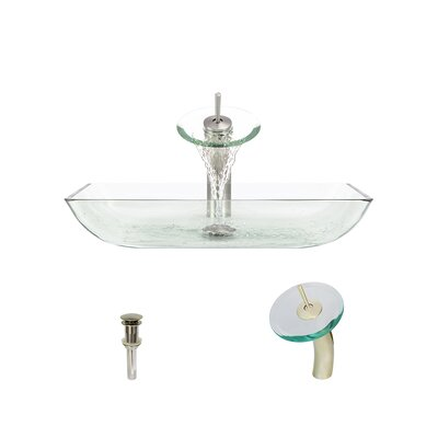 Glass Rectangular Vessel Bathroom Sink with Faucet Sink Finish: Crystal, Faucet Finish: Brushed Nickel