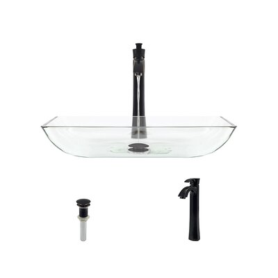 Glass Rectangular Vessel Bathroom Sink with Faucet Sink Finish: Crystal, Faucet Finish: Antique Rubbed Bronze