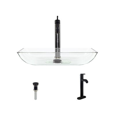 Glass Rectangular Vessel Bathroom Sink with Faucet Sink Finish: Crystal, Faucet Sink: Antique Rubbed Bronze