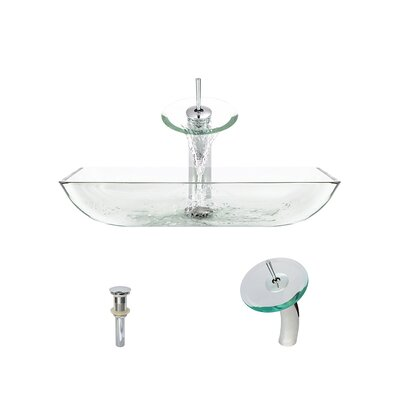 Glass Rectangular Vessel Bathroom Sink with Faucet Sink Finish: Crystal, Faucet Finish: Chrome