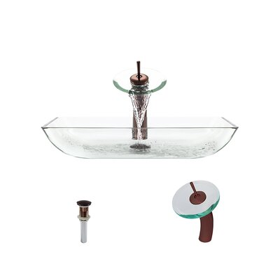 Glass Rectangular Vessel Bathroom Sink with Faucet Sink Finish: Crystal, Faucet Finish: Oil Rubbed Bronze