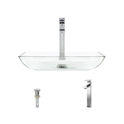 Rectangualr Glass Rectangular Vessel Bathroom Sink with Faucet Sink Finish: Crystal, Faucet Finish: Chrome