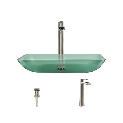 Glass Rectangular Vessel Bathroom Sink with Faucet Sink Finish: Emerald, Faucet Finish: Brushed Nickel