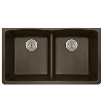 Granite Composite 33 x 19 Double Basin Undermount Kitchen Sink Finish: Mocha