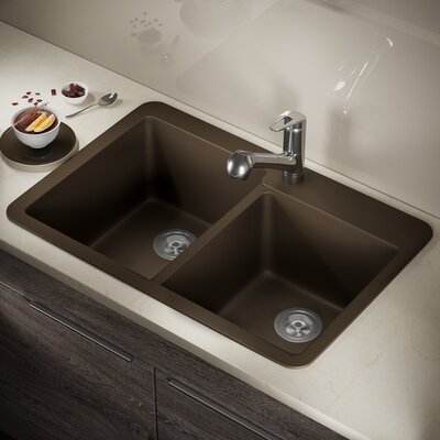 Granite Composite 33 x 22 Double Basin Drop-In Kitchen Sink with Basket Strainers Finish: Mocha