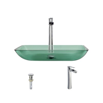 Glass Rectangular Vessel Bathroom Sink with Faucet Sink Finish: Emerald, Faucet Finish: Chrome