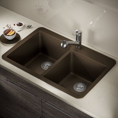 33 x 22 Double Basin Drop-in Kitchen Sink Finish: Mocha