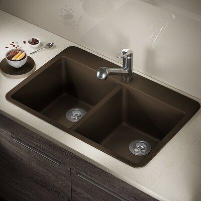 Granite Composite 33 x 22 Double Basin Drop-in Kitchen Sink Finish: Mocha