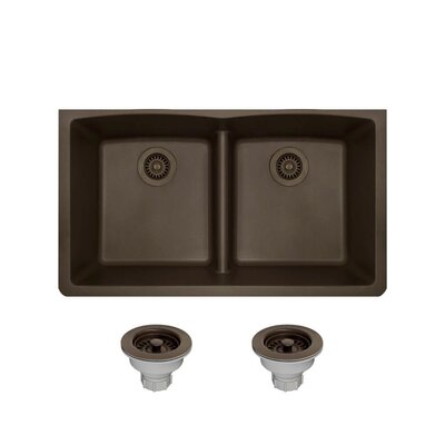 Granite Composite 33 x 19 Double Basin Undermount Kitchen Sink with Strainers Finish: Mocha