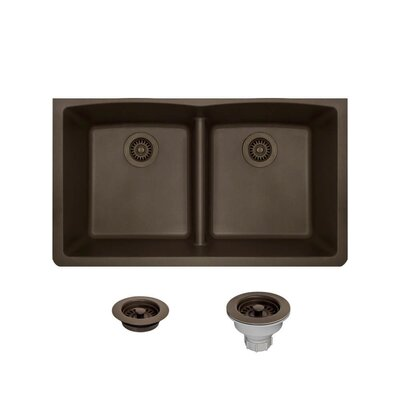Granite Composite 33 x 19 Double Basin Undermount Kitchen Sink with Strainers and Flange Finish: Mocha