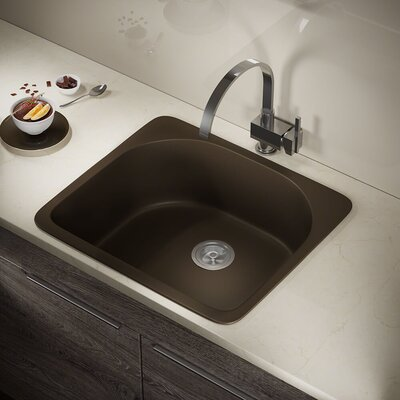 Granite Composite 25 x 22 Drop-in Kitchen Sink Finish: Mocha