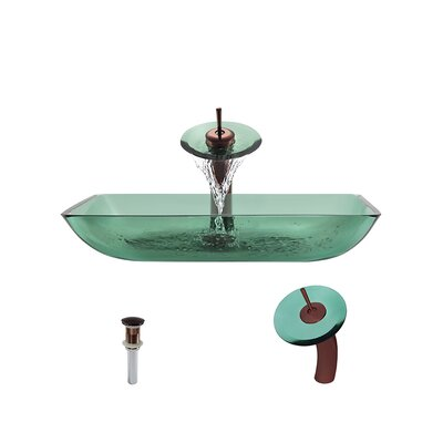Glass Rectangular Vessel Bathroom Sink with Faucet Sink Finish: Emerald, Faucet Finish: Oil Rubbed Bronze