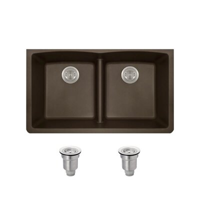Granite Composite 33 x 19 Double Basin Undermount Kitchen Sink with Basket Strainers Finish: Mocha