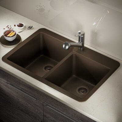 Granite Composite 33 x 22 Double Basin Drop-In Kitchen Sink with Strainer and Flange Finish: Mocha
