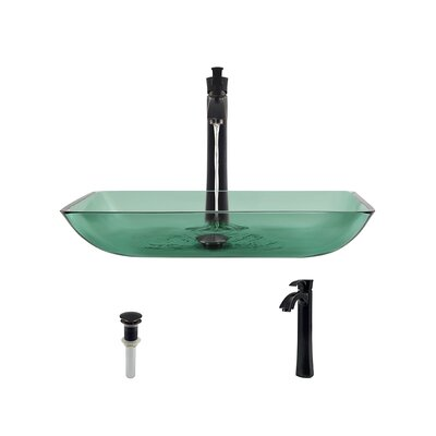 Glass Rectangular Vessel Bathroom Sink with Faucet Sink Finish: Emerald, Faucet Finish: Antique Rubbed Bronze