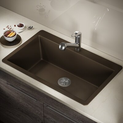 Granite Composite 33 x 21 Drop-In Kitchen Sink with Basket Strainer Finish: Mocha