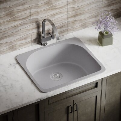 Granite Composite 25 x 22 Drop-in Kitchen Sink Finish: Silver