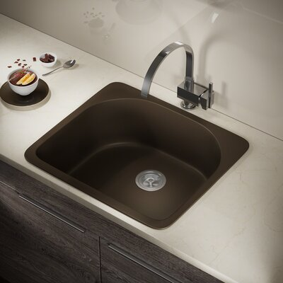 Granite Composite 25 x 22 Drop-In Kitchen Sink with Basket Strainer Finish: Mocha