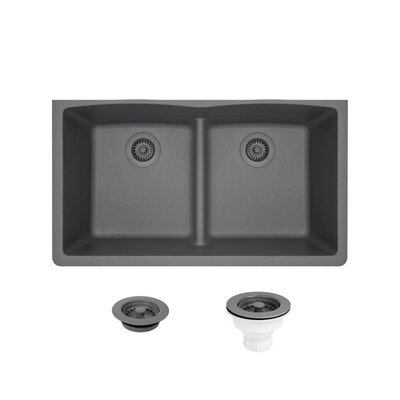 Granite Composite 33 x 19 Double Basin Undermount Kitchen Sink with Strainers and Flange Finish: Silver