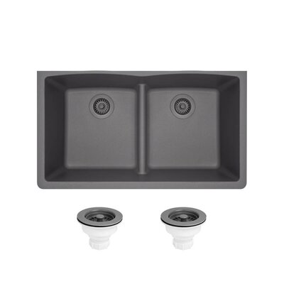 Granite Composite 33 x 19 Double Basin Undermount Kitchen Sink with Strainers Finish: Silver