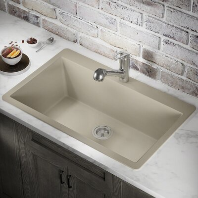 Granite Composite 33 x 21 Drop-in Kitchen Sink Finish: Silver
