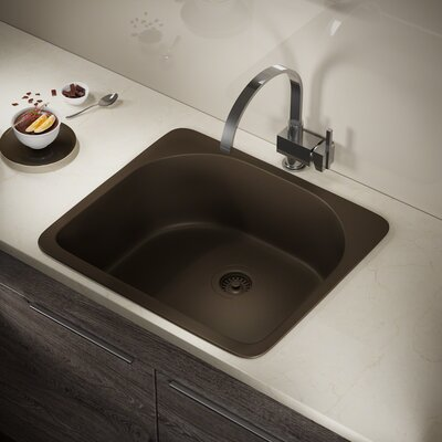 Granite Composite 25 x 22 Drop-in Kitchen Sink with Strainer Finish: Mocha