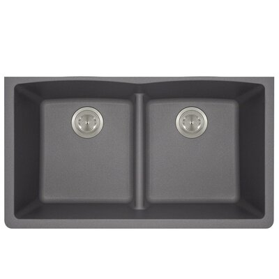 Granite Composite 33 x 19 Double Basin Undermount Kitchen Sink Finish: Silver