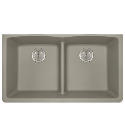 Granite Composite 33 x 19 Double Basin Undermount Kitchen Sink Finish: Slate
