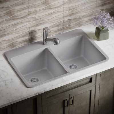 Granite Composite 33 x 22 Double Basin Drop-In Kitchen Sink with Strainer and Flange Finish: Silver
