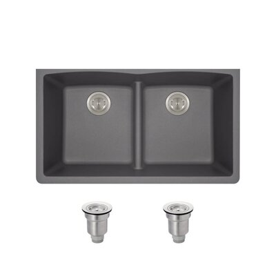 Granite Composite 33 x 19 Double Basin Undermount Kitchen Sink with Basket Strainers Finish: Silver