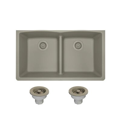 Granite Composite 33 x 19 Double Basin Undermount Kitchen Sink with Strainers Finish: Slate