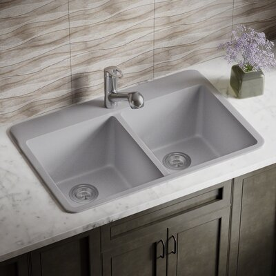 Granite Composite 33 x 22 Double Basin Drop-In Kitchen Sink with Basket Strainers Finish: Silver