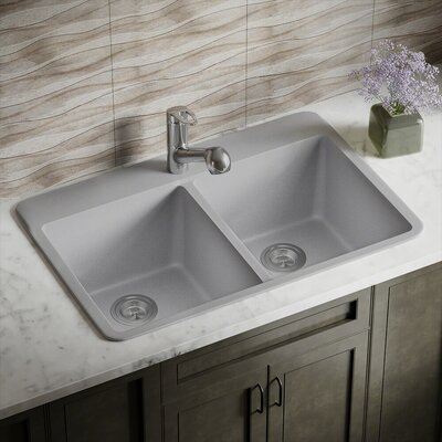 Granite Composite 33 x 22 Double Basin Drop-in Kitchen Sink Finish: Silver