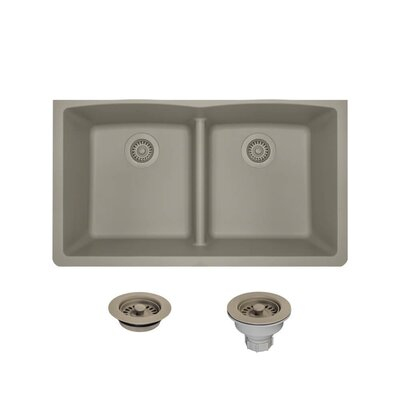 Granite Composite 33 x 19 Double Basin Undermount Kitchen Sink with Strainers and Flange Finish: Slate