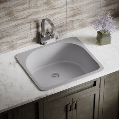 Granite Composite 25 x 22 Drop-in Kitchen Sink with Strainer Finish: Silver