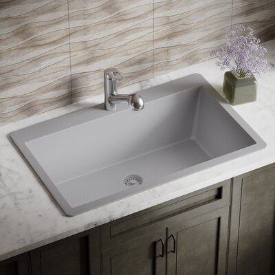 Granite Composite 33 x 21 Drop-In Kitchen Sink with Strainer Finish: Silver