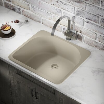 Granite Composite 25 x 22 Drop-In Kitchen Sink with Flange Finish: Slate