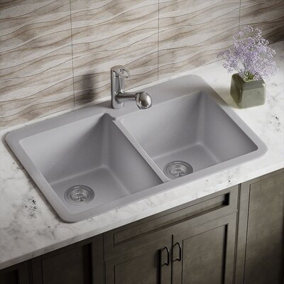 33 x 22 Double Basin Drop-in Kitchen Sink Finish: Silver