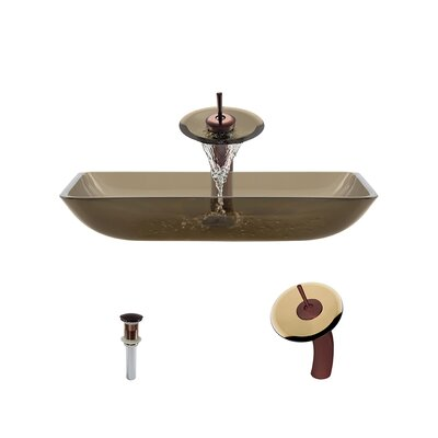 Glass Rectangular Vessel Bathroom Sink with Faucet Sink Finish: Taupe, Faucet Finish: Oil Rubbed Bronze