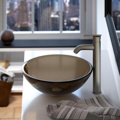 Glass Circular Vessel Bathroom Sink Sink Finish: Taupe