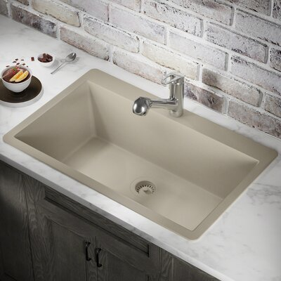 Granite Composite 33 x 21 Drop-In Kitchen Sink with Strainer Finish: Slate