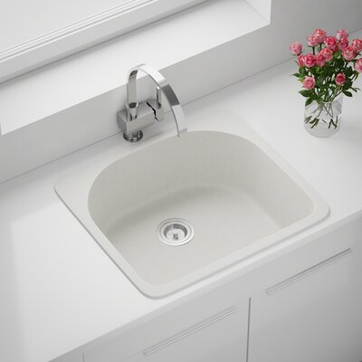 Granite Composite 25 x 22 Drop-In Kitchen Sink with Basket Strainer Finish: White