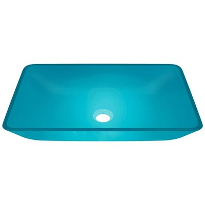 Glass Rectangular Vessel Bathroom Sink Sink Finish: Turquoise