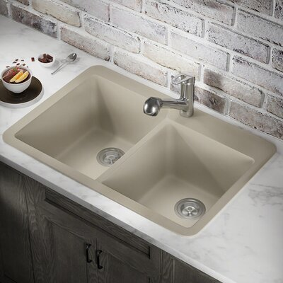 33 x 22 Double Basin Drop-in Kitchen Sink Finish: Slate